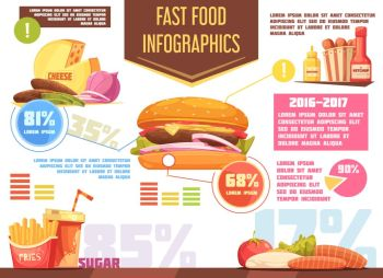 Fast Food Retro Cartoon Infographics . Fast food retro cartoon infographics with charts and information about burger potato fries drink sauces vector illustration