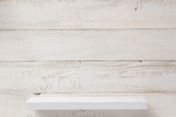 shelf at white plank wooden background texture