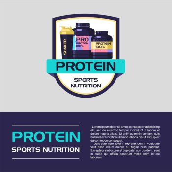Vector logo, emblem. Protein, sports nutrition.