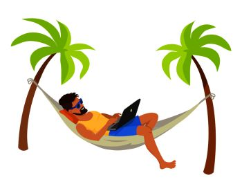 Young man with his laptop, freelance concept poster vector illustration freelancer wear blue sunglasses lying in hammock, distant work internet. Young Man with His Laptop, Freelance Work Poster