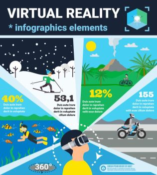Virtual Reality Infographics. Colored virtual reality infographics with four popular use of reality in glasses vector illustration
