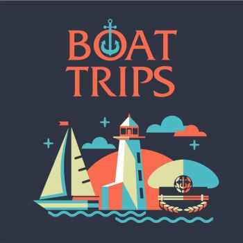 The concept of travel on a yacht. The rest of the sea. Illustration in flat style. Boat trips.
