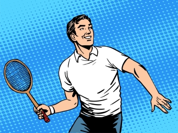 Handsome man playing tennis. Handsome man playing tennis. Beauty health sports lifestyle. Retro style pop art
