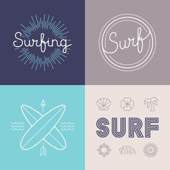 Vector set of surfing logo design templates in trendy linear style - summer and surf concepts