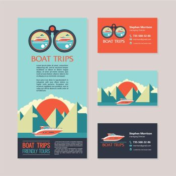 Sea voyage on a yacht. Design flyers and business cards. Vector illustration of a yacht on the background of a mountainous landscape.