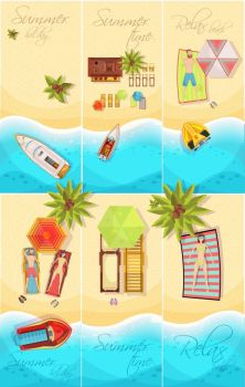 Summer Holiday Posters Set. Summer holiday set of posters top view with coast, boats, palm trees, beach elements isolated vector illustration