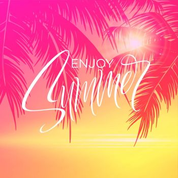 Summer lettering poster with palm trees background in pink colors. Vector illustration EPS10. Summer lettering poster with palm trees background in pink colors. Vector illustration