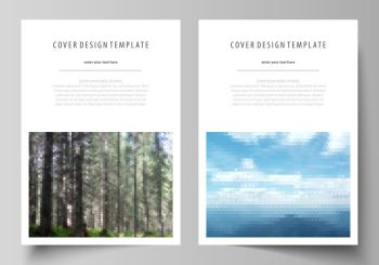 Business templates for brochure, magazine, flyer, booklet or annual report. Cover design template, easy editable vector, abstract flat layout in A4 size. Colorful background made of triangular or hexagonal texture for travel business, natural landscape in polygonal style.. Templates for brochure, magazine, flyer, booklet or annual report. Cover design template, abstract vector layout in A4 size. Colorful background, travel business, natural landscape in polygonal style.