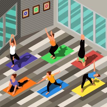 Isometric background with people doing yoga on colorful carpets in spacious fitness studio 3d vector illustration. Isometric Yoga Background