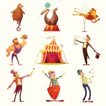 Circus Retro Icons Cartoon Set . Traveling chapiteau circus retro cartoon icons collection with tent and trained wild animals performance isolated vector illustration