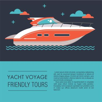 Yacht, boat. Vector illustration in flat style with place for text.