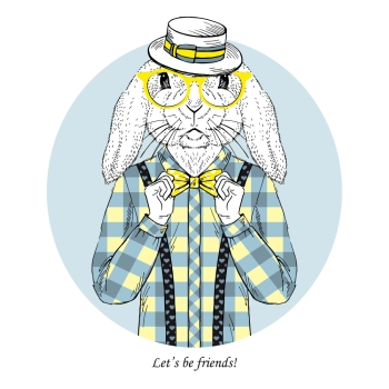 flendly bunny dressed up in plaid shirt with tie bow