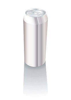 Plain silver metal drinks can with space for your own text