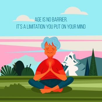 An old woman doing yoga outdoors. She leads a healthy and active lifestyle. Vector illustration in cartoon style