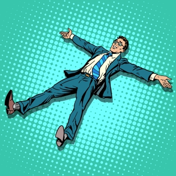 The businessman is resting with outstretched arms and legs pop art retro style. The success of pleasure. The joy of the work done. Vacation or day off. The businessman is resting with outstretched arms and legs