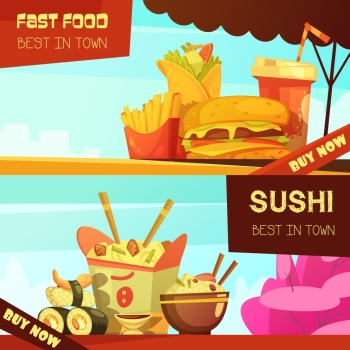 Fast Food Restaurant Advertisement Banners Set. Town best fast food restaurant 2 horizontal advertisement banners set with sushi retro cartoon isolated vector illustration
