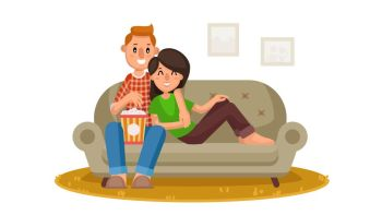 Home Cinema Vector. Home Room With TV Screen. Using Television Together. Online Home Movie. Cartoon Character Illustration. Young People Watching TV Vector. Drink Coffee, Relax At Home On Couch. Remote Control For TV Movie. Isolated On White Cartoon Character Illustration