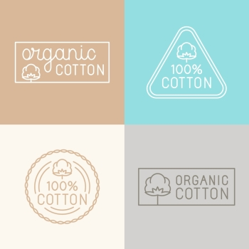 Vector set of labels, badges and design elements for organic and natural cotton tags for clothes - icons and emblems in trendy linear style
