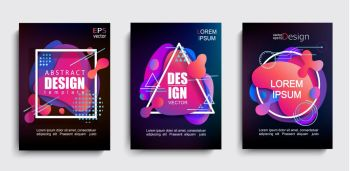 Set of liquid gradient color abstract shapes on black background.Modern banner with fluid design.Circle,triangle,square frames with wavy bright splashes.Geometric template for web,print,covers,design.. Set of liquid gradient color abstract shapes.