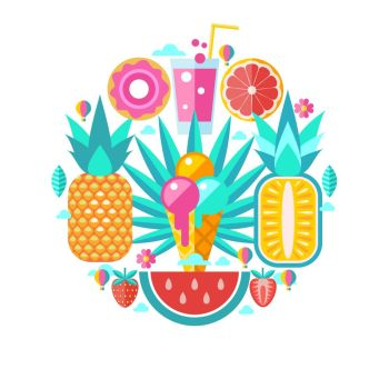 Hello summer. Vector illustration. A set of clipart on the theme of summer, vacation, sea, resort, fruit.