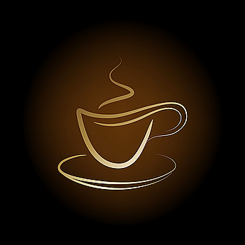 Vector design golden cup off coffee on a brown background