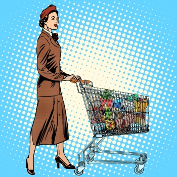 shopper grocery cart full of food pop art retro style. The business concept of purchasing and sales. Mom and the family budget. shopper grocery cart full of food