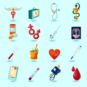 Medical icon set with first aid kit pill syringe isolated vector illustration