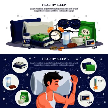 Healthy sleep horizontal banners with young man sleeping on orthopedic pillow soothing tea mask books with recommendations for healthy lifestyle vector illustration  . Healthy Sleep Horizontal Banners
