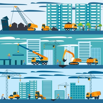 Construction and building concept with builders machines and skyscrapers vector illustration