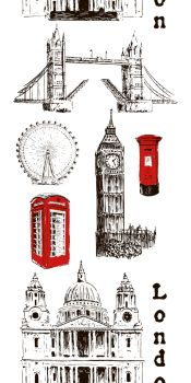 London architectural symbols: Big Ben, Tower Bridge, mail box, call box. St Paul Cathedral. Vertical stripe. Beautiful hand drawn vector sketch seamless pattern. For prints, advertising, City panorama. London architectural symbols: Big Ben, Tower Bridge, mail box, call box. St. Paul Cathedral. Vertical stripe seamless pattern